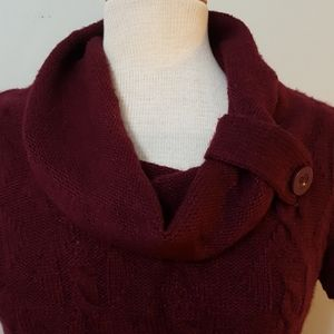 Cable Knit Long Dark Red Ricki's Sweater